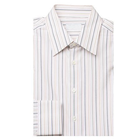 Prada Men's Semi-Spread Collar Pinstriped Cotton Dress Shirt White Multi