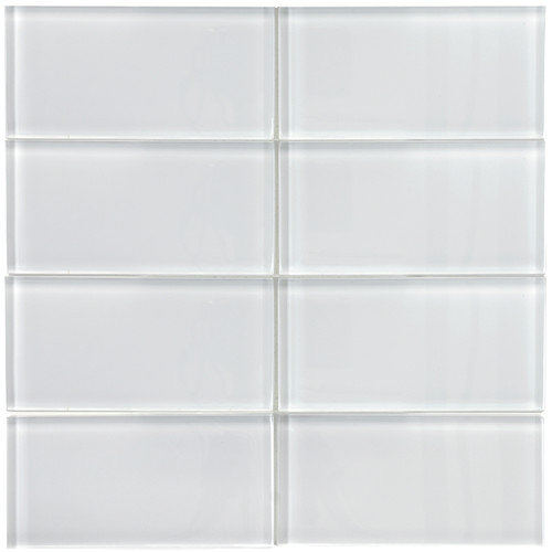 EliteTile Sierra 6'' x 3'' Polished Glass Subway Tile in Ice White