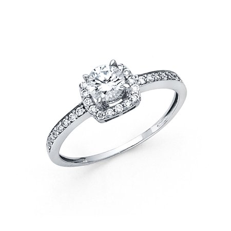 14K Solid White Gold 1.25 cttw Round Cubic Zirconia with Side Stones Wedding Engagement Ring , Size 4