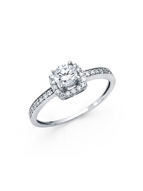 14K Solid White Gold 1.25 cttw Round Cubic Zirconia with Side Stones Wedding Engagement Ring , Size 6