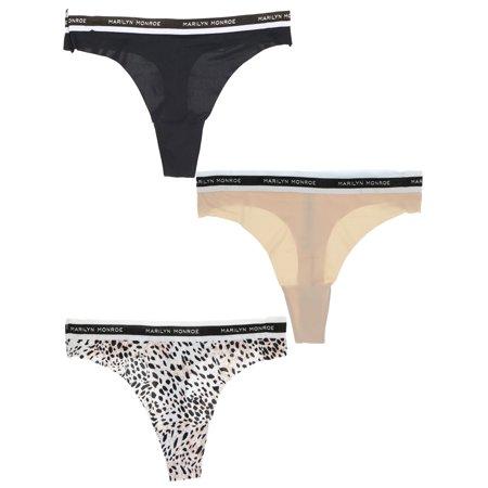 b77114273c6f Marilyn Monroe Intimates - Marilyn Monroe Intimates Womens Seamless Sporty  Thong Panties (3 Pr) (Large, Cheetah, Black, Nude) - Walmart.com