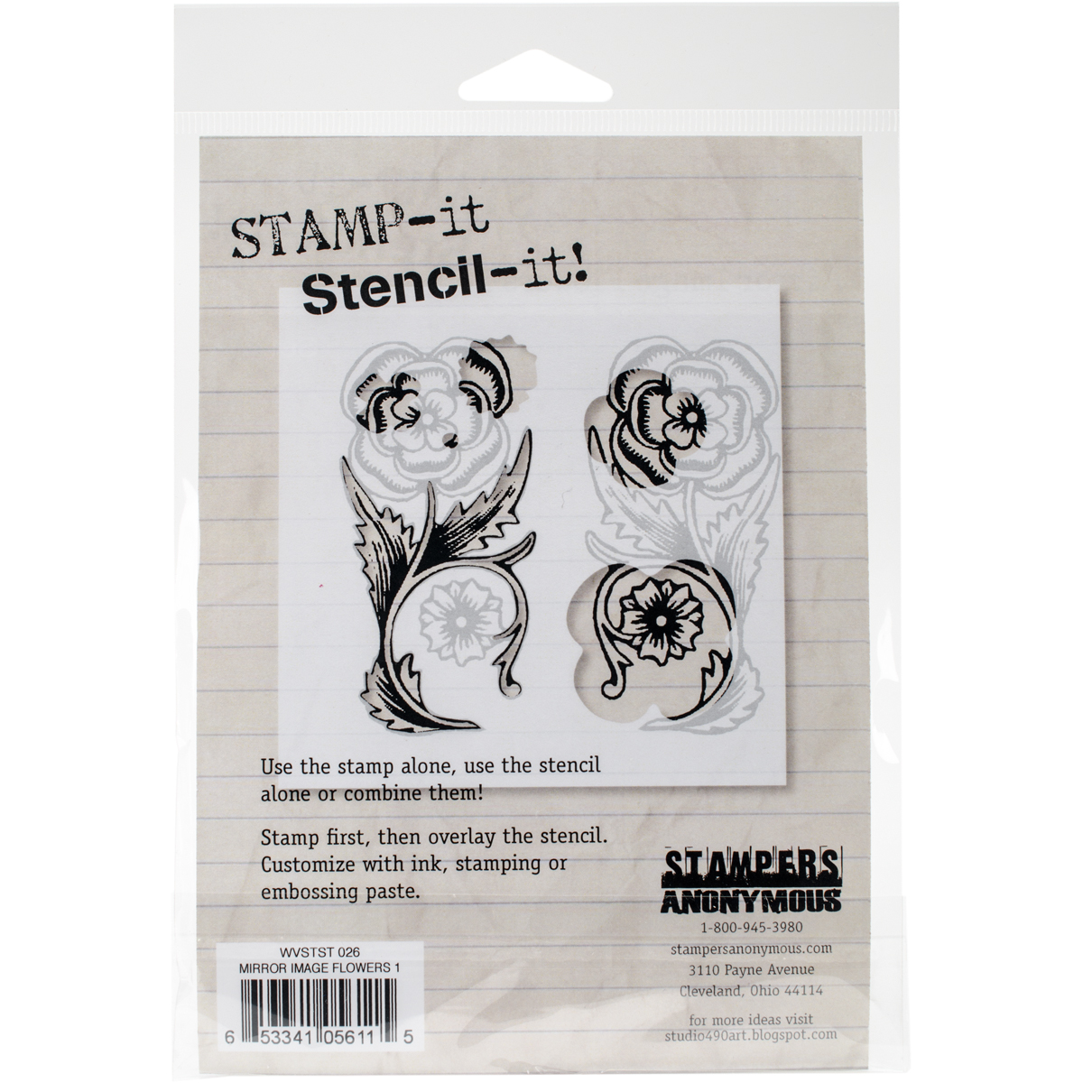 "Studio 490 Stamp It Stencil It 7""X8.5""-Mirror Image Flowers 1"