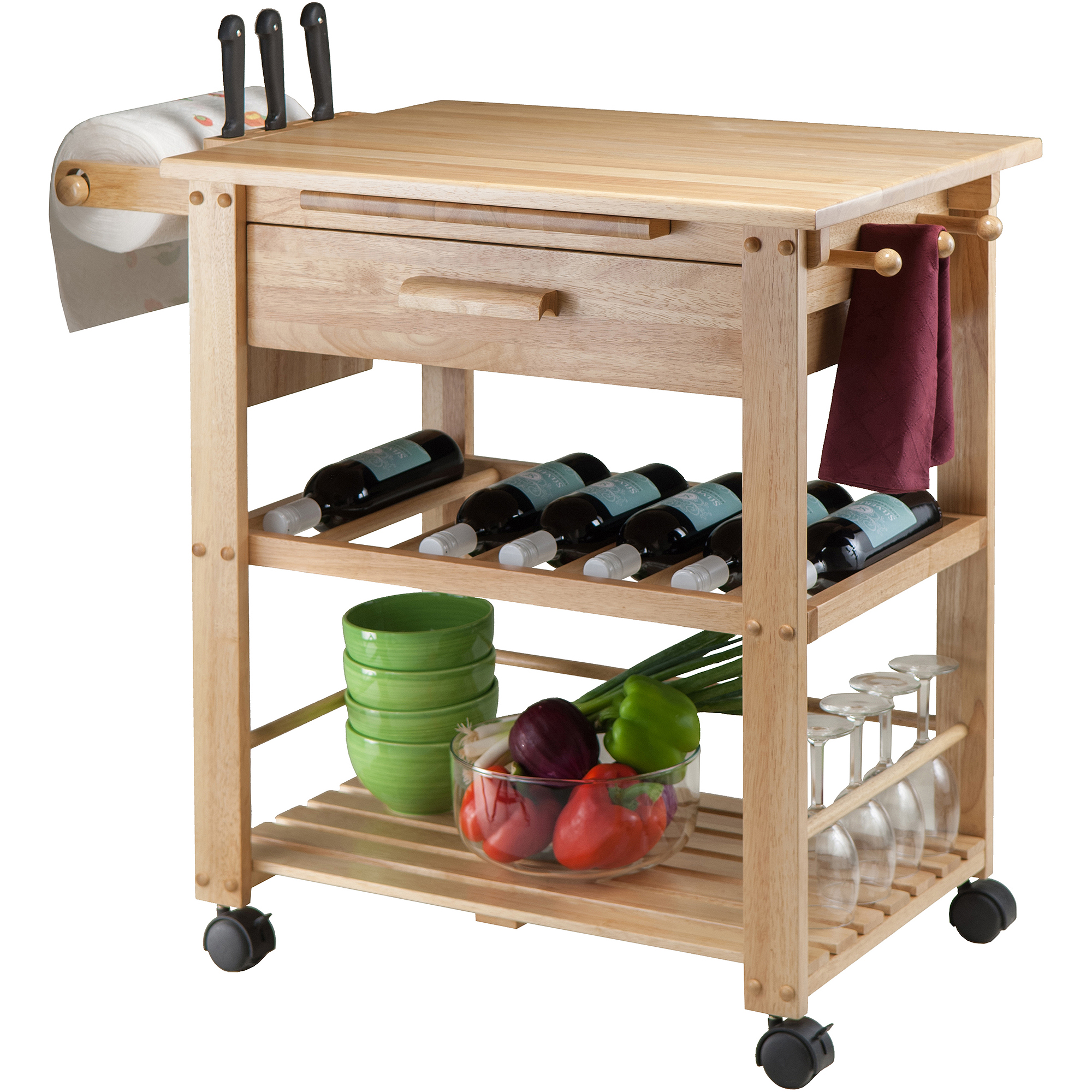 finland kitchen cart, natural - walmart