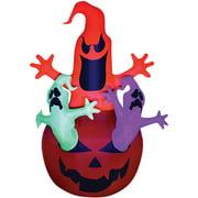 Pumpkin Jack with Neon Color Ghosts Trio