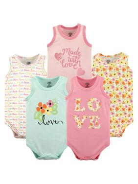 Luvable Friends Baby Girl Sleeveless Bodysuits, 5-pack