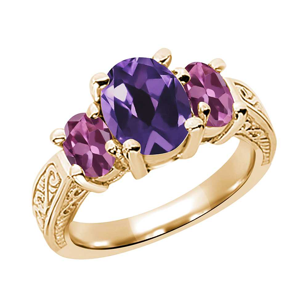 2.66 Ct Oval Purple Amethyst Pink Tourmaline 18K Yellow Gold 3-Stone Ring by
