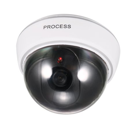 Fake Security Camera Dummy Dome CCTV with Blinking Red LED Warning Light for Home Outdoor Indoor