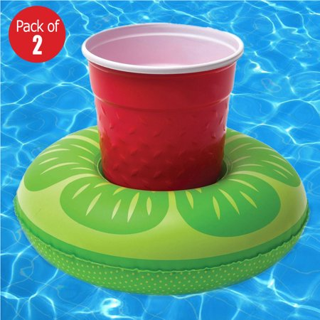 Inflatable Lemon Shaped Floating Drink Holder, Floating Coasters for Party Favor or Swimming Pool (Pack of 2)