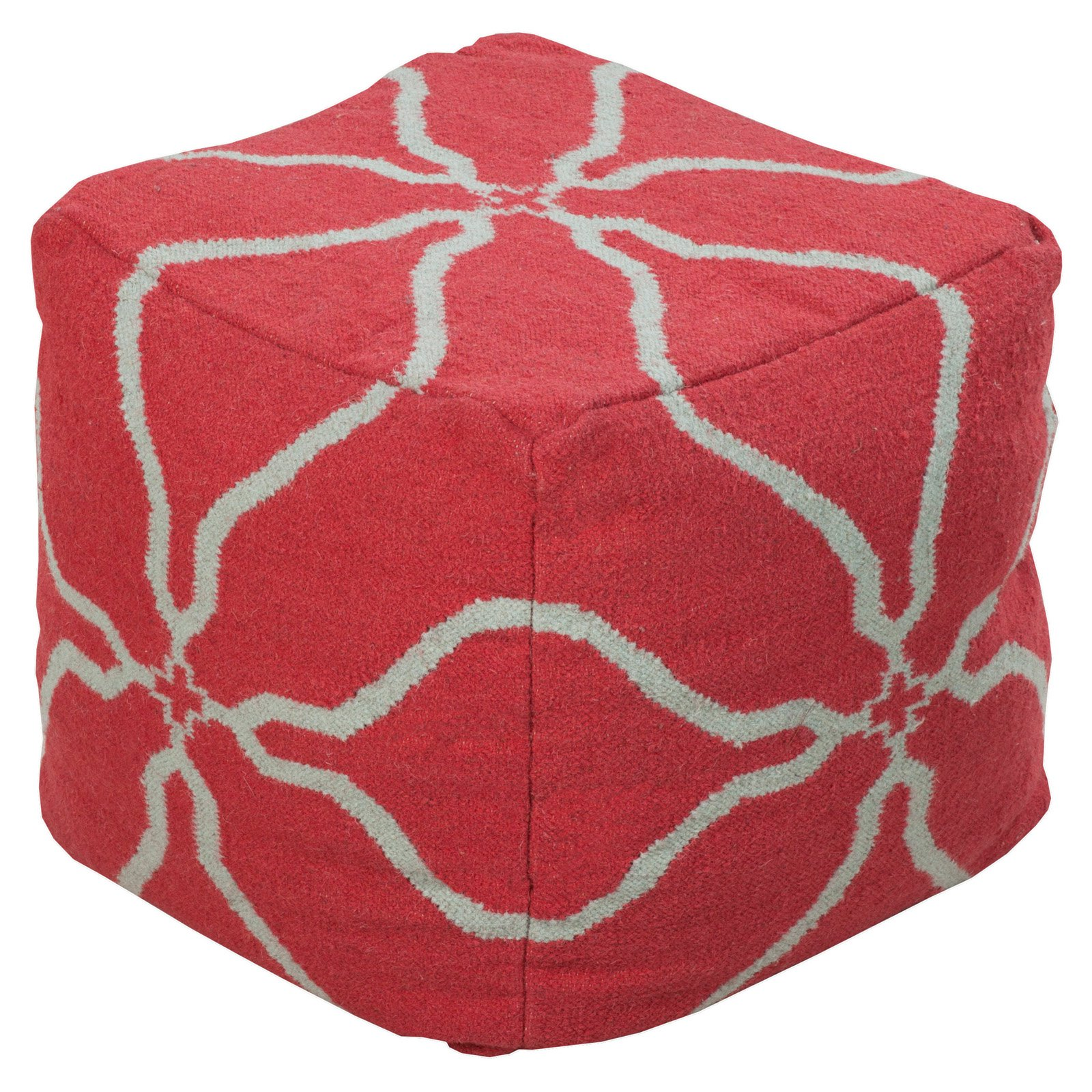 Surya 18 in. Flower Cube Wool Pouf by Surya