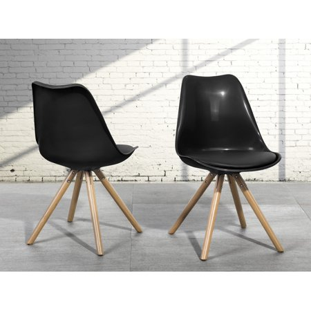 Set of 2 Modern Black Dining Side Chairs Padded Leather Seat (Dakota Black Leather)