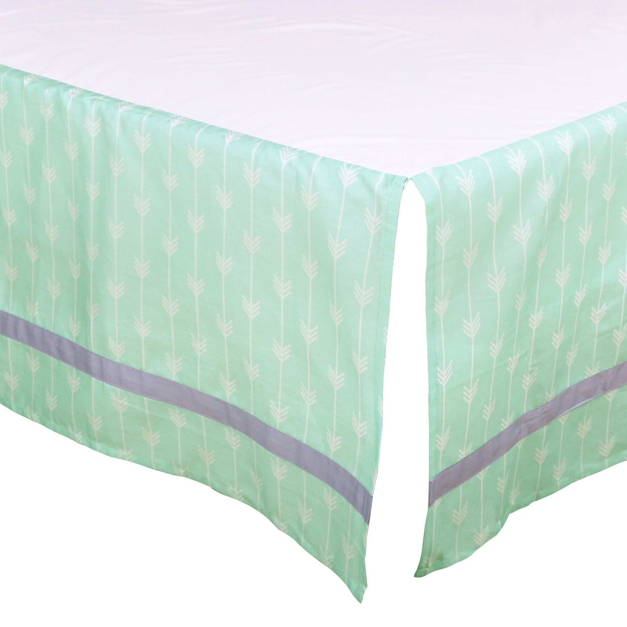 The Peanut Shell Tailored Crib Skirt - Mint Green Arrow Chevron Geometric Print with Purple Trim - 100% Cotton Sateen 14 Inch Drop, Standard Crib