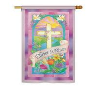 Breeze Decor Christ is Risen 2-Sided Vertical Flag