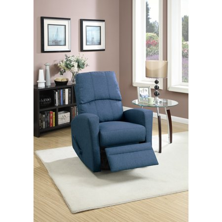 Swivel Recliner Chair In Navy Polyfiber Fabric Blue ...