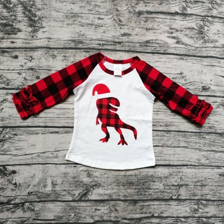 Christmas Kids Baby Boys Girls Plaid Clothes Dinosaur Print T Shirt Tops Tee Red 4T