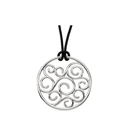 - Diamond Scroll Circle Necklace, Sterling Silver and Black Leather Cord