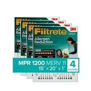 Filtrete 15x20x1, Allergen Reduction HVAC Furnace Air Filter, 1200 MPR, Pack of 4 Filters