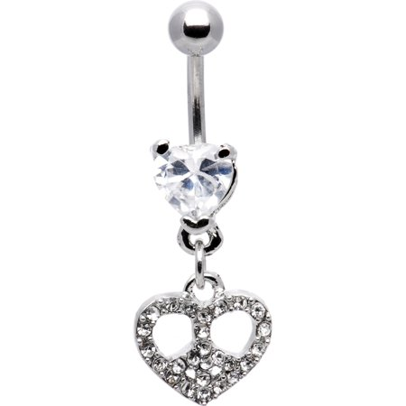 Body Candy Clear Paved Peace Sign Heart Belly Ring Walmart Com
