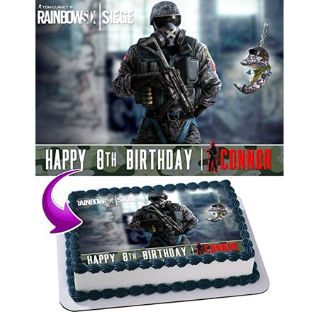 Rainbow Six Tom Clancy Cake Image Personalized Topper Edible Image Cake Topper Personalized Birthday 1/4 Sheet Decoration Party Birthday Sugar Frosting Transfer Fondant Image Edible Image for cake - Halloween Birthday Party Cake Ideas
