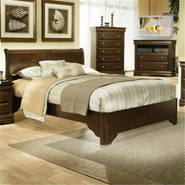 Full Size Sleigh Bed In Rubberwood Solids With Low Footboard Brown by Alpine Furniture
