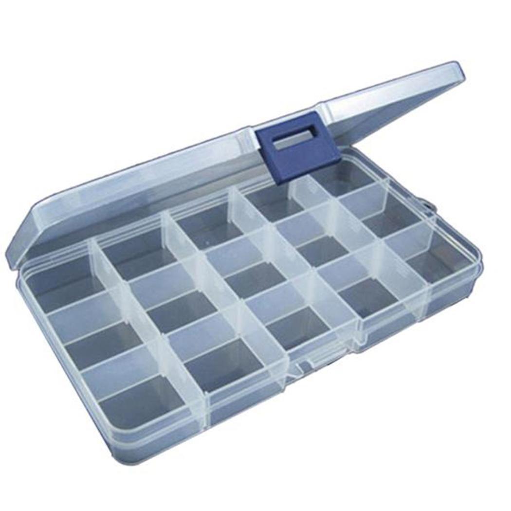 Transparent 15 Slots Organizer Fishing Lure Box Adjustable Plastic Hook Tackle Box Storage Case Organizer Caroj - image 2 de 7