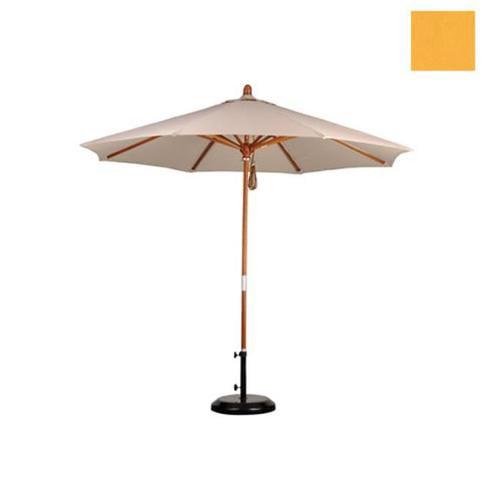 9' Wood Market Umbrella Pulley Open Marenti Wood/Olefin/Lemon