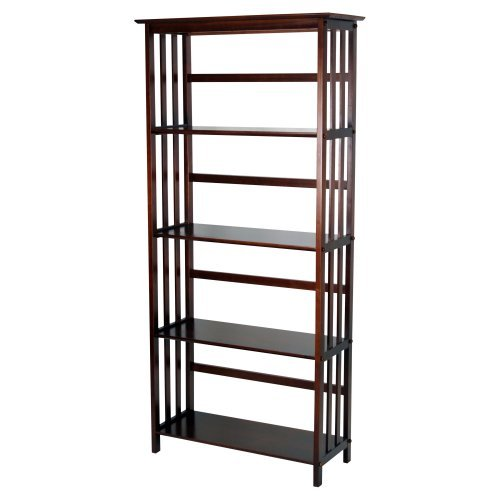 Mission Style 5-Tier Wood Bookcase