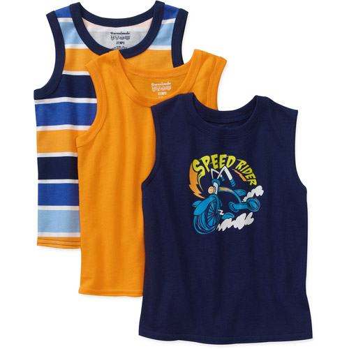Garanimals Baby Boys' Graphic, Solid and Stripe Tank Set, 3-Pack