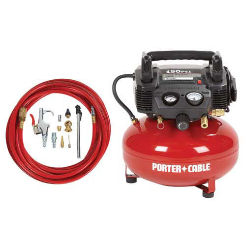 Factory-Reconditioned Porter-Cable C2002-WKR 0.8 HP 6 Gallon Oil-Free Pancake Air Compressor with 13 Piece Hose and Accessory Kit (Refurbished)
