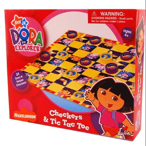 Nickelodeon Checkers & Tic Tac Toe Game Dora by Cardinal