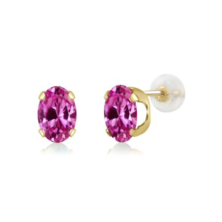 1.80 Ct Oval 7x5mm Pink Created Sapphire 14K Yellow Gold Stud Earrings