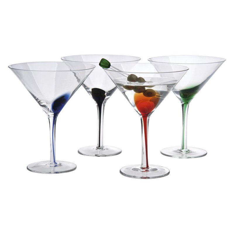 Artland Splash Martini Set/4, 12 oz. W/, Assorted