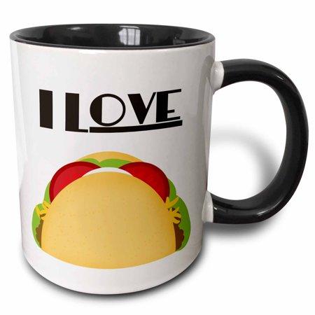 3dRose I Love Tacos Mexican Food art, Two Tone Black Mug,