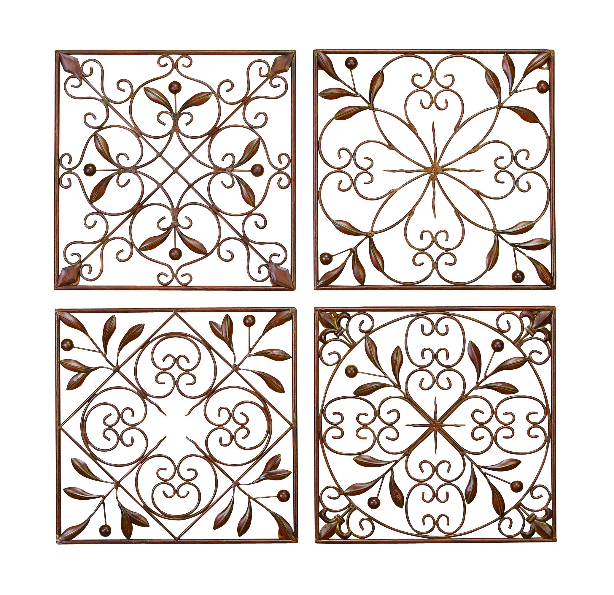 Metal Wall Decor, Set Of 4 Metal Filigrees To Hang Anywhere by Benzara