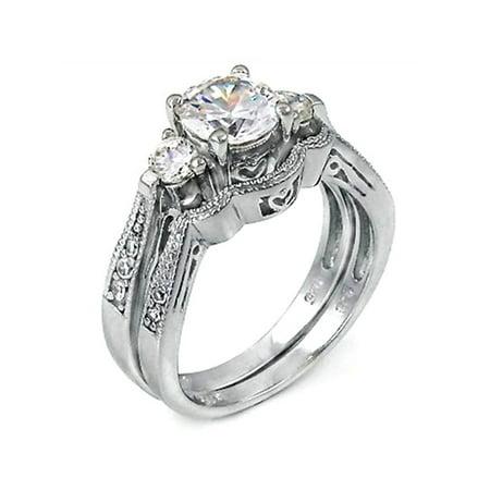 2 ct Past Present Future Bridal Wedding ring designer Set 925 Silver