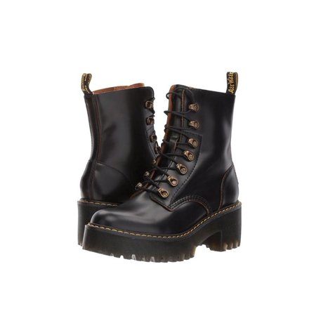 22601001 Dr.Martens Leona Heeled Boot - Dr Martens Black Round Boots