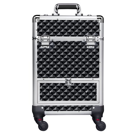 Aluminum Cosmetic Case Professional Makeup Train Case, Large Capacity Trolley Makeup Case with 4 Retractable Trays & 1 Smooth Sliding Drawer