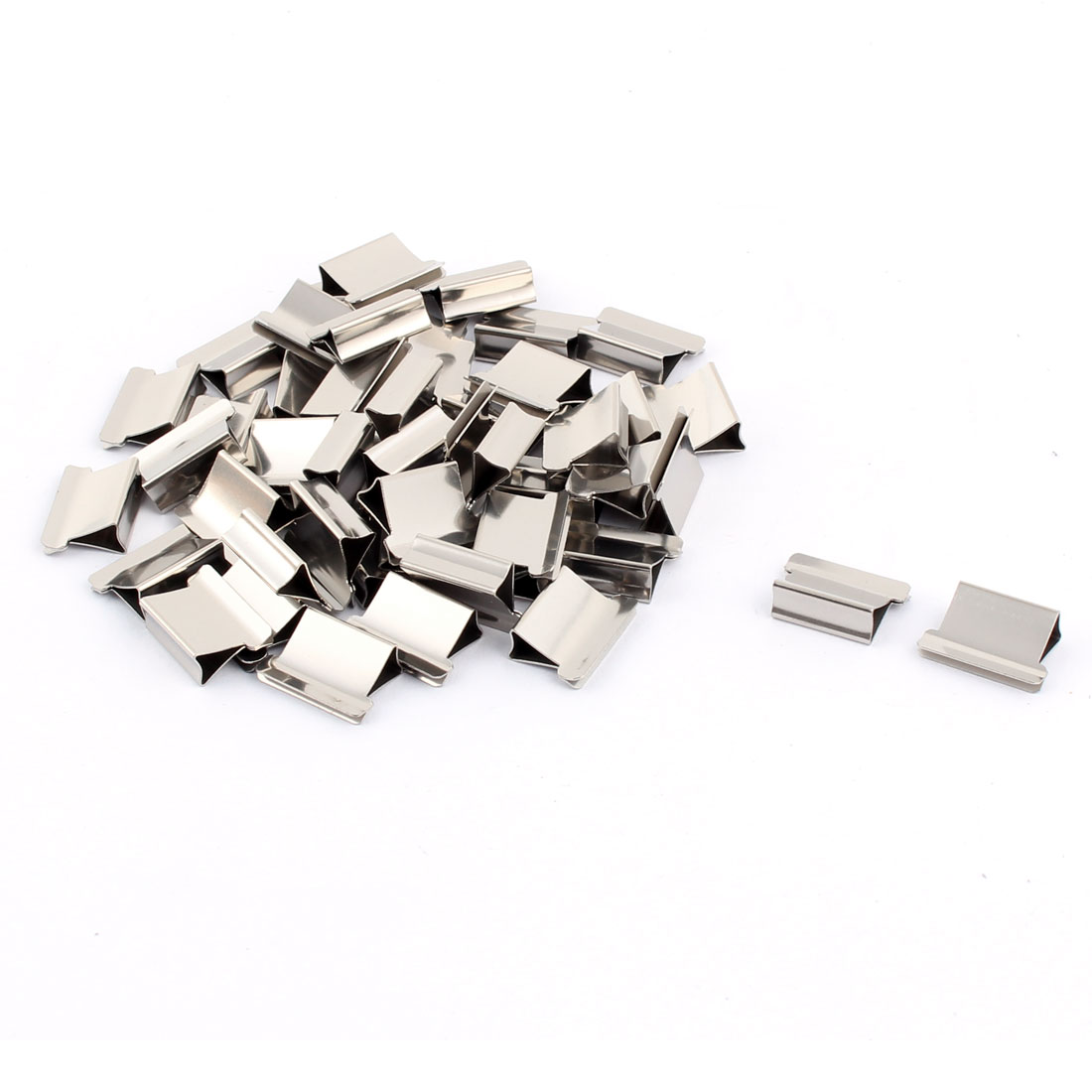 Office Metal Fastener Clamp Staple Dispenser Clips Silver Tone 50 Pcs