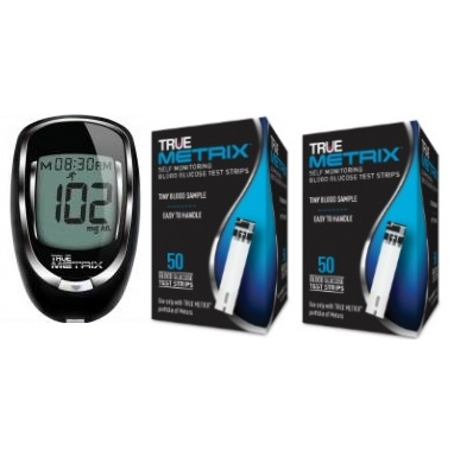 TRUEmetrix Blood Glucose Meter and Test Strip Combo Meter and 100 Test Strips