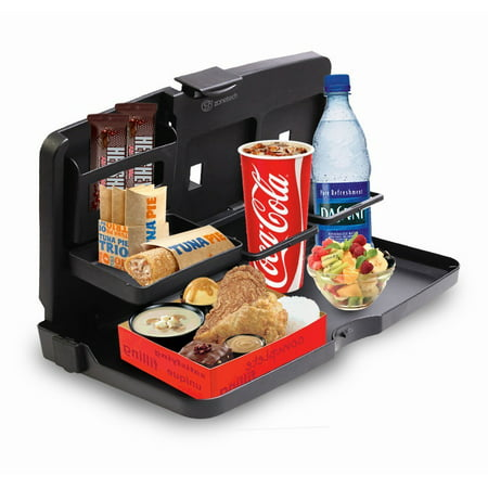Zone Tech Travel Food and Drink Tray The Convenient food and drink car tray is ideal for all your needs while taking up minimal space.Works for kids and adults likewise, therefore it makes a great gift idea for you or someone special.The tray is multifunctional; serves as a food tray, drink holder, organize your knickknacks etc.It folds neatly and the lightweight construction makes it easy to carry or store when not in use.With the Food and Drink Tray easily convert your car into a personal restaurant, table or cafe!Zone Tech Classic Black Premium Quality Travel Car Food And Drink Tray Vehicle Meal and Snack Holder
