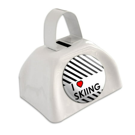 I Love Heart Skiing White Cowbell Cow Bell](Blue Cow Bells)
