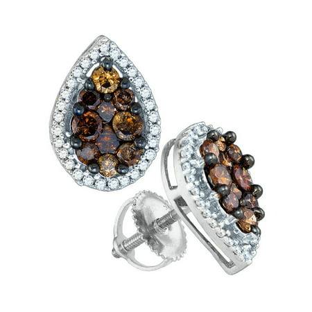 10kt White Gold Womens Round Brown Color Enhanced Diamond Teardrop Cluster Earrings 1.00 - Diamond Teardrop Jewelry Set