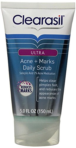 5 Pack Clearasil Ultra Acne + Marks Daily Scrub Acne Treatment 5 Oz Each Selenes Vitamin C Serum with Hyaluronic Acid, Gigiwhite and Passion Flower, From the Goddess Collection By Diva Stuff (1 Fluid Ounce)