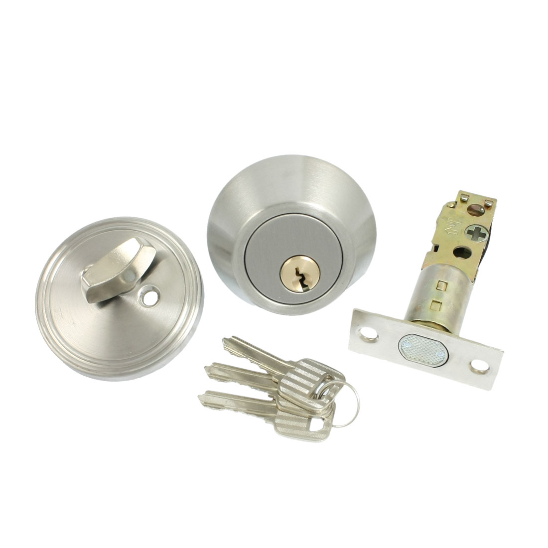 Home Door Locking Security Single Cylinder Deadbolt Lock Silver Tone