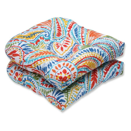Perfect Set - Pillow Perfect Outdoor/ Indoor Ummi Multi Wicker Seat Cushion (Set of 2)