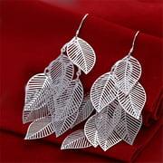 Rubique 18K White Silver Leaf Branch Earring