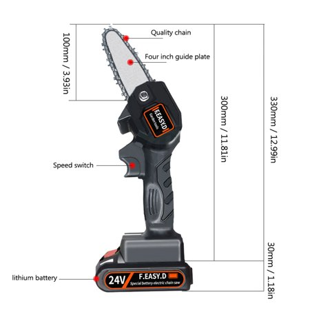 24V Lithium Battery Portable Electric Pruning Saw Rechargeable Small Electric Saws Woodworking One-handed Electric Saw Garden Logging Mini Electric Chain Saw
