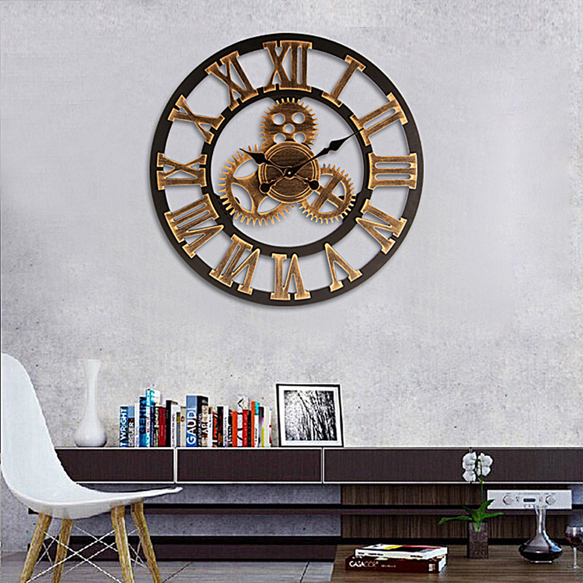 24'' Wooden Vintage Silent Round 3D Gear Wall Clock Home Coffice Shop Decor