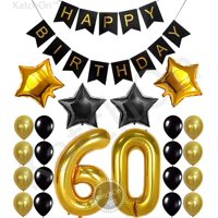 60th Birthday Party Decorations KIT - Happy Birthday Black Banner, 60th Gold Number Balloons,Gold and Black, Number 60, Perfect 60 Years Old Party Supplies
