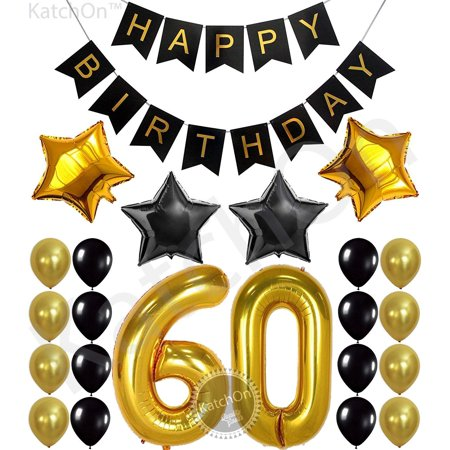 60th Birthday Party Plates (60th Birthday Party Decorations KIT - Happy Birthday Black Banner, 60th Gold Number Balloons,Gold and Black, Number 60, Perfect 60 Years Old Party)
