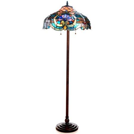 "Chloe Lighting Lydia Tiffany-Style 2-Light Victorian Floor Lamp with 17"" Shade"